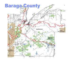 Baraga County Michigan Snowmobile Trail Map
